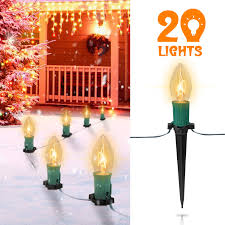 C9 Pathway Lights 25ft C9 Christmas Pathway Lights With 20 Clear Bulbs And 20 Stakes Ul Listed Walkway Christmas Stake Lights For Outdoor Walkway Lights Driveway