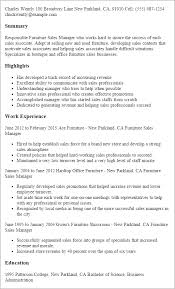 resume templates furniture sales manager furniture sales resume