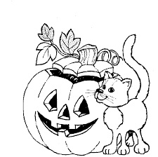 Small Picture Cat And Halloween Pumpkin Coloring In Pages Hallowen Coloring