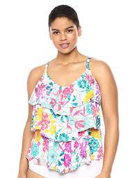Kenneth Cole Plus Size Swimwear Size Chart Kenneth Cole Reaction Womens Plus Size Triple Tier Tankini Swimsuit Top