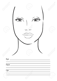 Chart Makeup Face Chart Makeup Artist Blank Template Vector Illustration