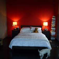 red wall bedroom photo - 1