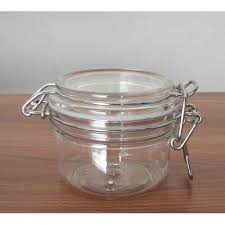 pet jar with white rubber seal locking metal clasp clear plastic jar metal clasp