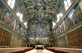 vasari tells us that in preparing to paint the ceiling of the sistine chapel a debate arose between bramante and michelangelo about how to design the