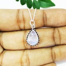 gorgeous natural blue fire rainbow moonstone gemstone pendant birthstone pendant 925 sterling silver pendant fashion handmade