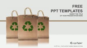 Paper Bags With Recycle Sign Powerpoint Templates