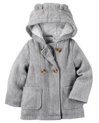 carters baby girl peacoat coat hooded fashon girl gray size 18m
