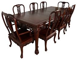 Asian dining room furniture Chinese Consigned Vintage Chinese Carved Rosewood Dining Table With Chairs Set Asian Dining Sets By Golden Treasures Antiques And Collectibles Inc Derwent Driving School Consigned Vintage Chinese Carved Rosewood Dining Table With