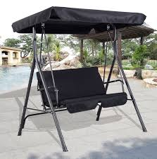 2 seater metal swing hammock chair bench lounger canopy cushioned patio black