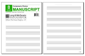 Mayfair Music Pub Inc Composers Choice Manuscript Paper 8 Stave 3 Hole Punched Pad