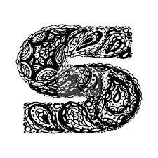 Fototapeta Písmeno S Dekorativní Abeceda S Bordó Zen Náplní Doodle Tetování