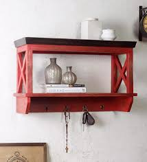 alonza solid wood wall shelf with hooks in distressed red finish by fabuliv