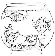 Small Picture Three Fish with Castle in Fish Bowl Coloring Page Download
