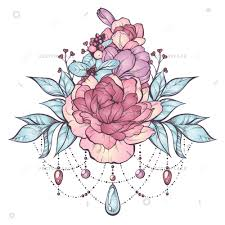 Floral Tattoo Pastel Composition With Pastel Colored Sketch Image Of Flowers Leaves And Boho Style Gems Vector Illustration
