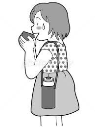 水筒から水を飲む女の子 モノクロ イラスト素材 1994503 無料