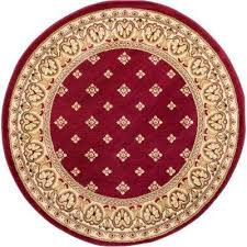 barclay hudson terrace red 5 ft x 5 ft round traditional border area rug