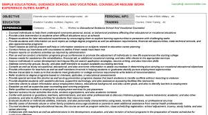 educational guidance school and vocational counselor resume vocational counselor resume