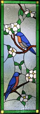 stained glass chili pepper window panel bluebirds dogwood cabinet door insert
