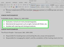 Photography Resume Adorable How To Create A Photography Resume With Pictures WikiHow
