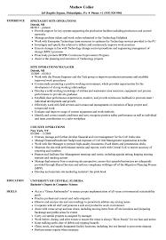 Site Operations Resume Samples Velvet Jobs
