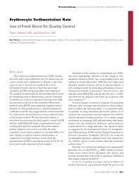 Pdf Erythrocyte Sedimentation Rate Use Of Fresh Blood For