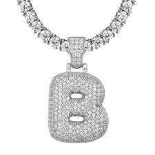 details about custom bubble letter b initial pendant sterling silver iced out comes with chain