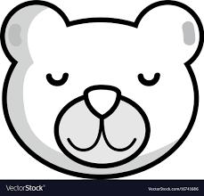 Teddy Bear Design Line Cute Teddy Bear Head Design
