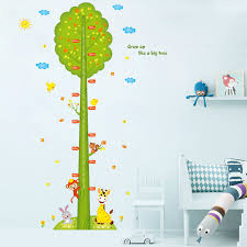 Plant Chart Us 7 89 Green Tree Animals Children Height Measurement Wall Stickers Garden Plant Kid Growth Chart Entrance Kid Bedroom Decorative Decal In Wall