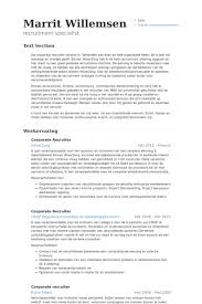 Recruiter Resume Template Simple Corporate Recruiter Resume Samples VisualCV Resume Samples Database