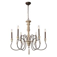 lnc 6 light ivory white shabby chic french country chandelier