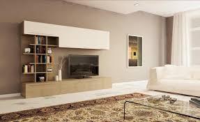 Parete soggiorno moderna con libreria design larice grigio e