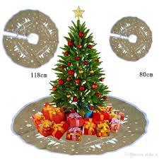 Sackleinen Material Baum Rock Weißer Weihnachtsbaum Schneeflocke Stern Frohe Weihnachten Party Haus Dekoration Geschenk Box Teppich Zwei Größe Zu