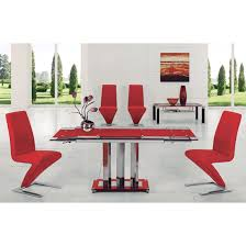 rihanna red glass extending dining table and 6 z dining chairs