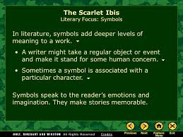the scarlet ibis by james hurst ppt video online  the scarlet ibis literary focus symbols