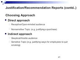 Justification Recommendation Reports Formal Report Example