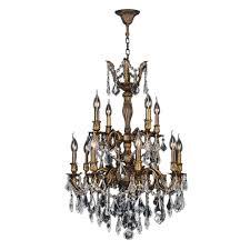 bronze and crystal chandelier. Worldwide Lighting Versailles 12-Light Antique Bronze And Clear Crystal Chandelier 3