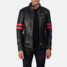 mens monza black red leather biker jacket 1