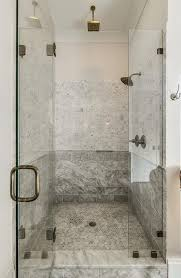 walk in shower with mixed marble tiles