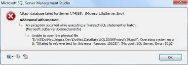 an error of attach database under win7