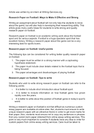 A null hypothesis (h0) exists when a researcher believes there is no relationship between the two variables or a lack of information to state a scientific hypothesis. Calameo Research Paper On Football Ways To Make It Effective And Strong