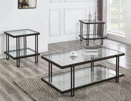 piece glass top coffee table set in oak