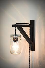mason jar wall sconce plug in wall sconce wall light black wall lamp plug in light rustic lighting mason jar plug in light