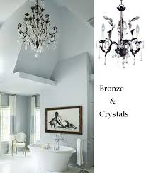 bathroom chandelier lighting ideas. bronze crystal leafy bathroom chandelier lighting ideas