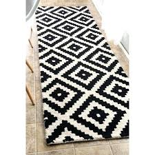 white runner rug handmade abstract pixel trellis black off white wool runner rug 2 navy blue