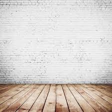 white wood floor background. Room Interior Vintage With White Brick Wall And Wood Floor Background Stock Photo - 26270363 O