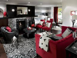 Red Black And White Living Room Decorating Retro Red Black And White Family Room Hgtv