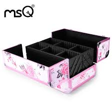 whole brand msq pink professional cosmetic case doulble open bination lock aluminum metallic conner bag organizer