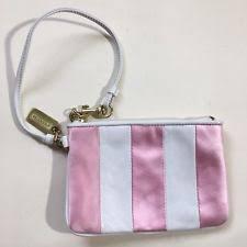 Coach Leather Pink Satin Stripe Wallet Wristlet Coin Purse