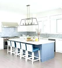 gray and blue kitchen with mini brick tiles subway tile white patterned