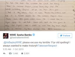 bayley and sasha banks childhood essays about changing  not to be outdone sasha banks posted an essay of her own from when she was 11 showing that there s always been a little boss inside of her